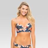 Tori Praver Seafoam Women's Floral Pullover Underwire Longline Bikini Top - Indigo Blue