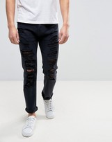 Armani Jeans Slim Tapered Jeans Ripped In Black