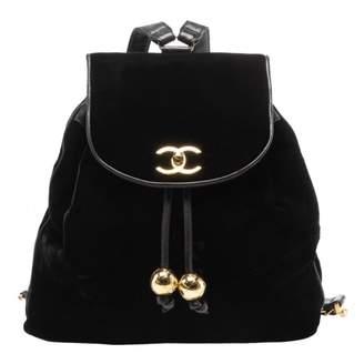 Chanel Timeless/Classique Black Velvet Backpacks