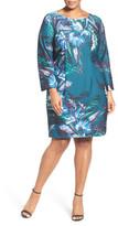 Eliza J Floral Print Ponte Sheath Dress (Plus Size)