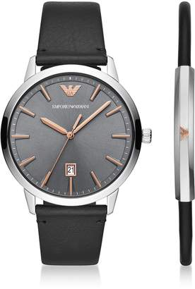 Emporio Armani Ruggero Black Leather Stainless Steel Watch Gift Set