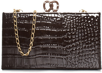 Edie Parker Brown Embossed Leather Pretzel Clutch Nm, Nwt