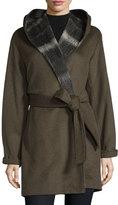 Vera Wang Hooded Long-Sleeve Coat W/Self Belt, Sage