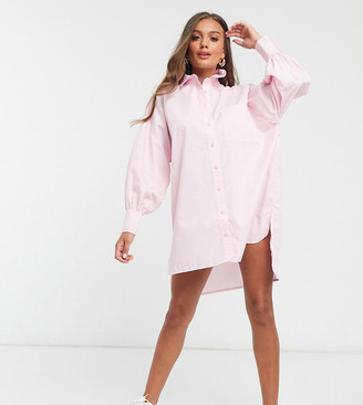 ASOS DESIGN Petite cotton poplin oversized boyfriend mini shirt dress in pale pink
