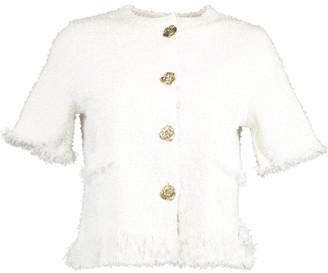 Oscar de la Renta Short Sleeve Gold Button Tweed Jacket