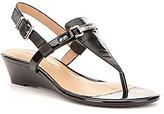 Antonio Melani Amirah Leather Hardware Detail Low Wedge Sandals