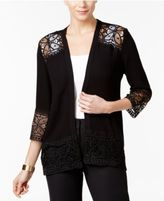 NY Collection Lace-Trim Cardigan