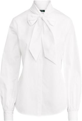Ralph Lauren Cotton Tie-Neck Top