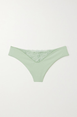 La Perla Good Vibrations Jersey And Stretch-lace Thong - Green