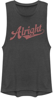 """Juniors' """"Alright"""" Red Text Muscle Tee"""