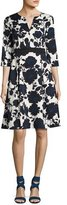Sachin + Babi Ella 3/4-Sleeve Floral Ottoman Dress, Blue