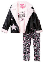 Betsey Johnson Star Tee, Pleather & Faux Fur Moto Jacket & Star Print Legging Set (Toddler Girls)