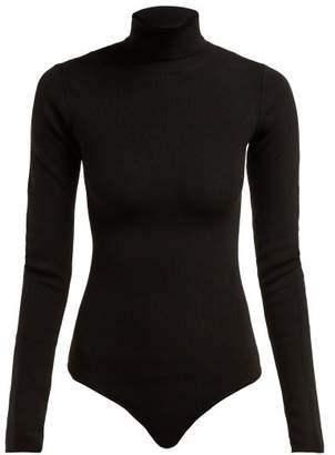 KHAITE Cate Roll Neck Ribbed Knit Bodysuit - Womens - Black