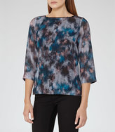 Reiss Nettie Printed Button-Back Top
