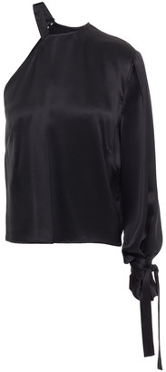 Mason by Michelle Mason One-shoulder Tie-detailed Silk-charmeuse Top