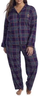 Lauren Ralph Lauren Plus Size Purple Plaid Knit Pajama Set