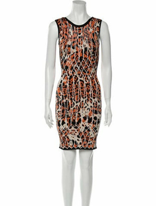 Herve Leger Animal Print Mini Dress Orange