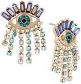 Betsey Johnson Gold-Tone Crystal Evil-Eye Drop Earrings