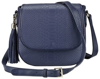 GiGi New York Kelly Python-Embossed Leather Saddle Bag