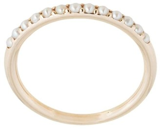 MEADOWLARK 9kt gold and white freshwater pearl Seed Band ring