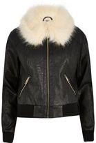 River Island Womens Black faux fur collar jacket