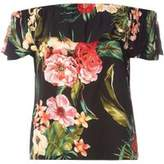 Dorothy Perkins Womens Petite Black Floral Print Bardot Top- Black