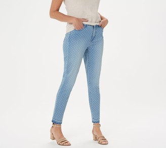 Isaac Mizrahi Live! TRUE DENIM Regular Polka Dot Ankle Jeans