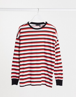 ASOS DESIGN long sleeve striped t-shirt with cuff in white