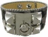 Zeckos Silver Leopard Hair-On Leather O Ring Bracelet