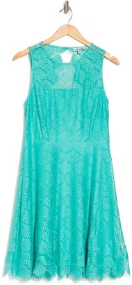 Kensie Lace Keyhole Fit & Flare Dress