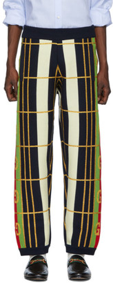 Gucci Blue Wool Jacquard Lounge Pants