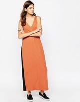Asos Rib Panel Maxi Dress