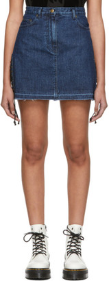 McQ Blue Denim Laced Miniskirt
