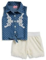 Nannette Girls Embellished Chambray Top and Lace Shorts Set