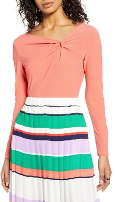 Halogen Twist Neck Fashion Knit Top