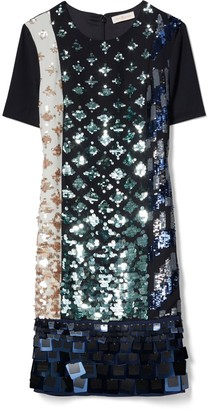 Tory Burch COLOR-BLOCKED SEQUIN T-SHIRT DRESS