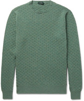 Incotex Textured-knit Virgin Wool Sweater - Green