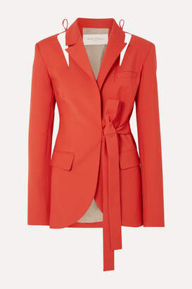 MATÉRIEL Cutout Belted Wool-blend Blazer - Red