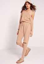 Missguided Off The Shoulder Romper Nude