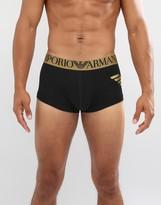 Emporio Armani Trunks With Large Metallic Logo In Black