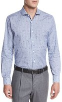 Robert Graham Tonal-Dot Glen Plaid Sport Shirt, Blue