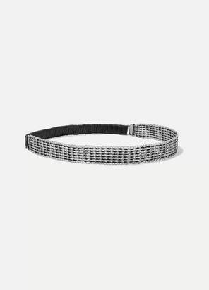 Saint Laurent Chainmail And Faux Leather Headband - Silver