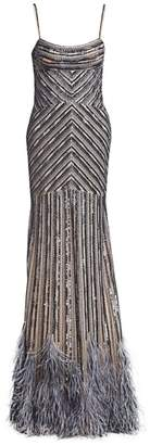 Gustavo Cadile Beaded Feather Hem Gown