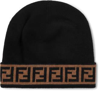 Fendi Logo-Jacquard Wool Beanie - Men - Black