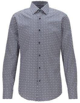 BOSS Slim-fit shirt in Italian floral-print cotton