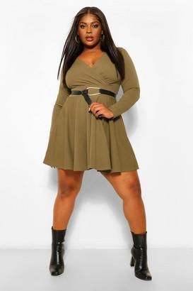 boohoo Plus Wrap Scuba Crepe Skater Dress