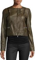 Kaufman Franco Long-Sleeve Cropped Leather Jacket, Cornichon