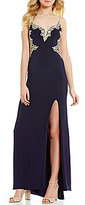 Jump Beaded Open-Back Embroidered Applique Long Dress