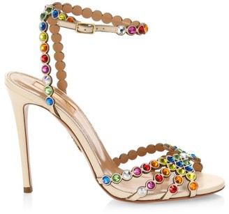 Aquazzura Tequila Rainbow Crystal-Embellished Leather Sandals
