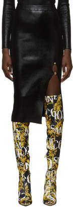 Versace Black Lame Slit Skirt
